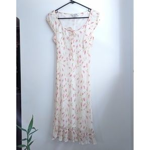 Vintage Nine West White Floral Silk Slip Dress